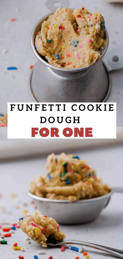 Edible funfetti cookie dough for one