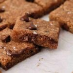 Close up of chocolate chip cookie bars
