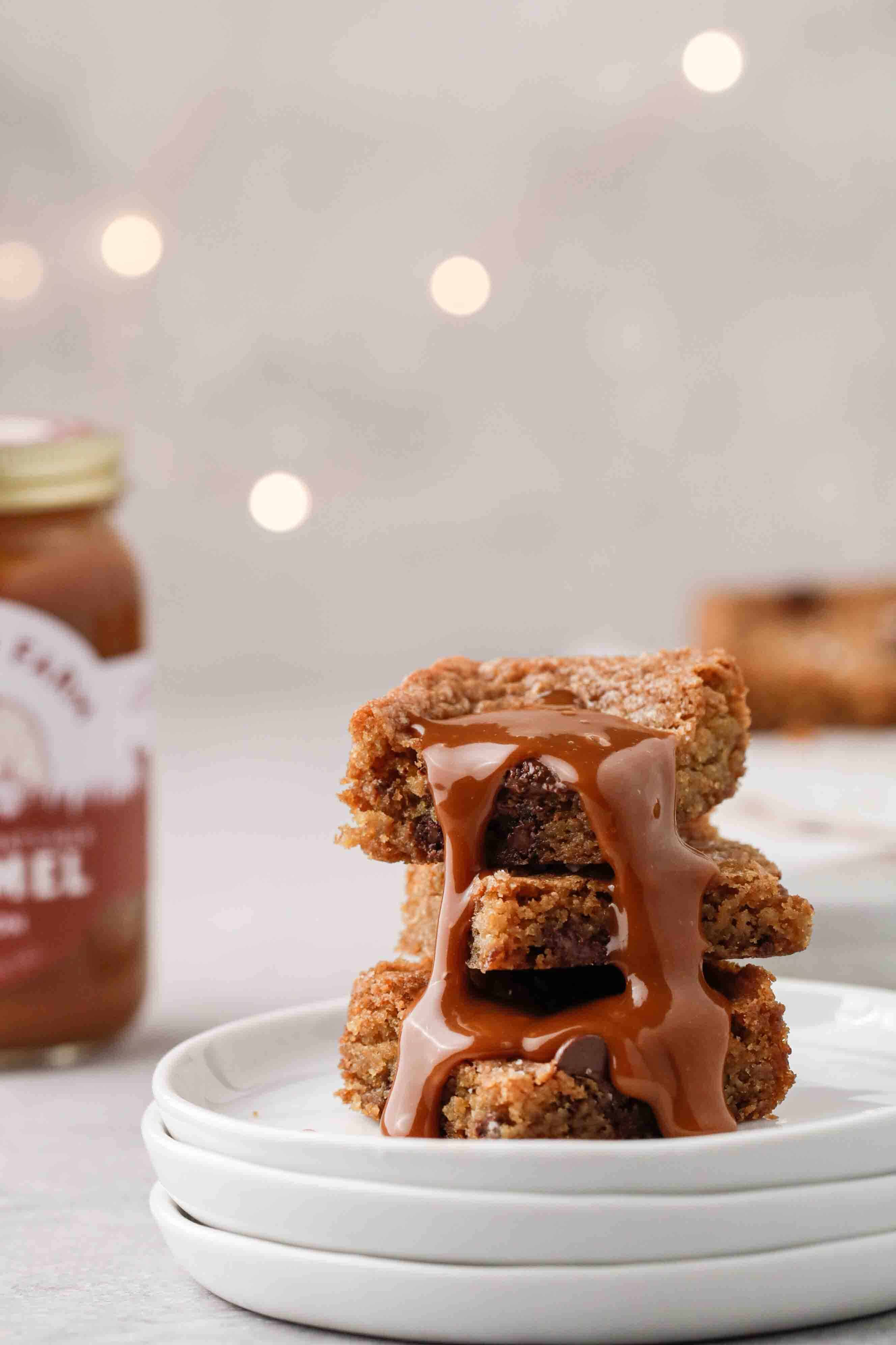 Chocolate chip cookie bars drizzled with caramel
