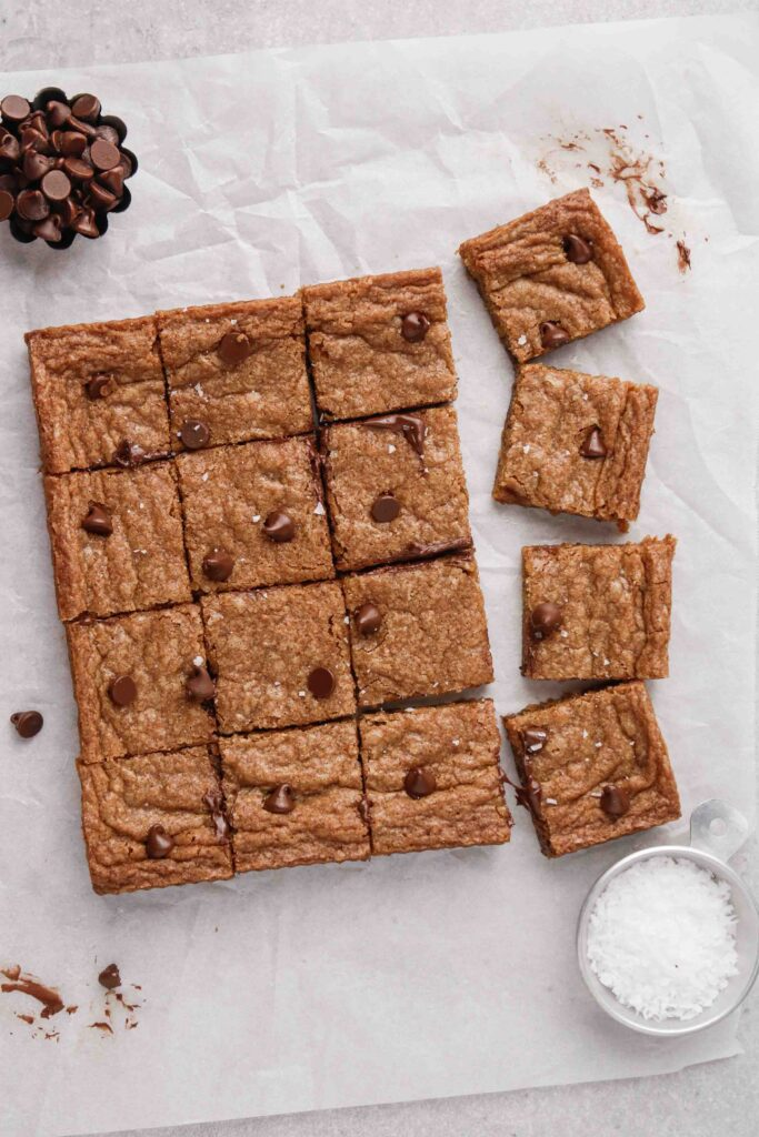 Overhead photography of cookie bars