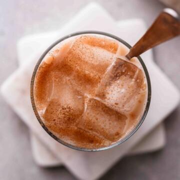 Overhead shot of chai latte