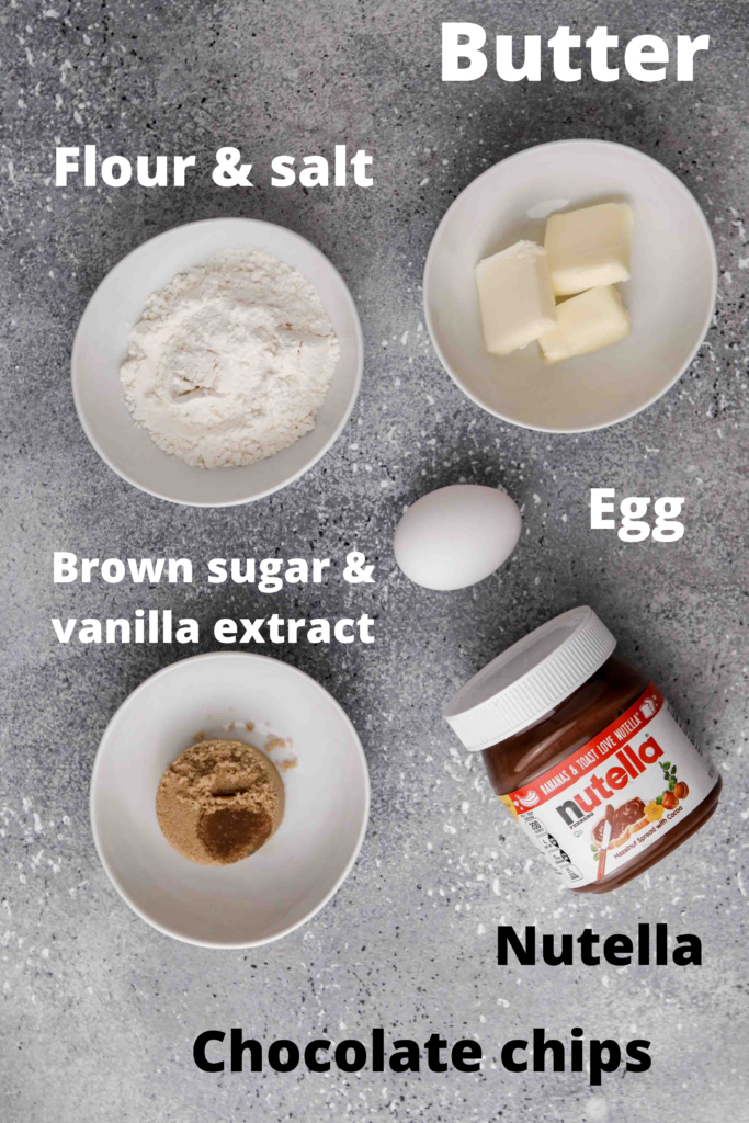 Ingredients for small batch Nutella brownies