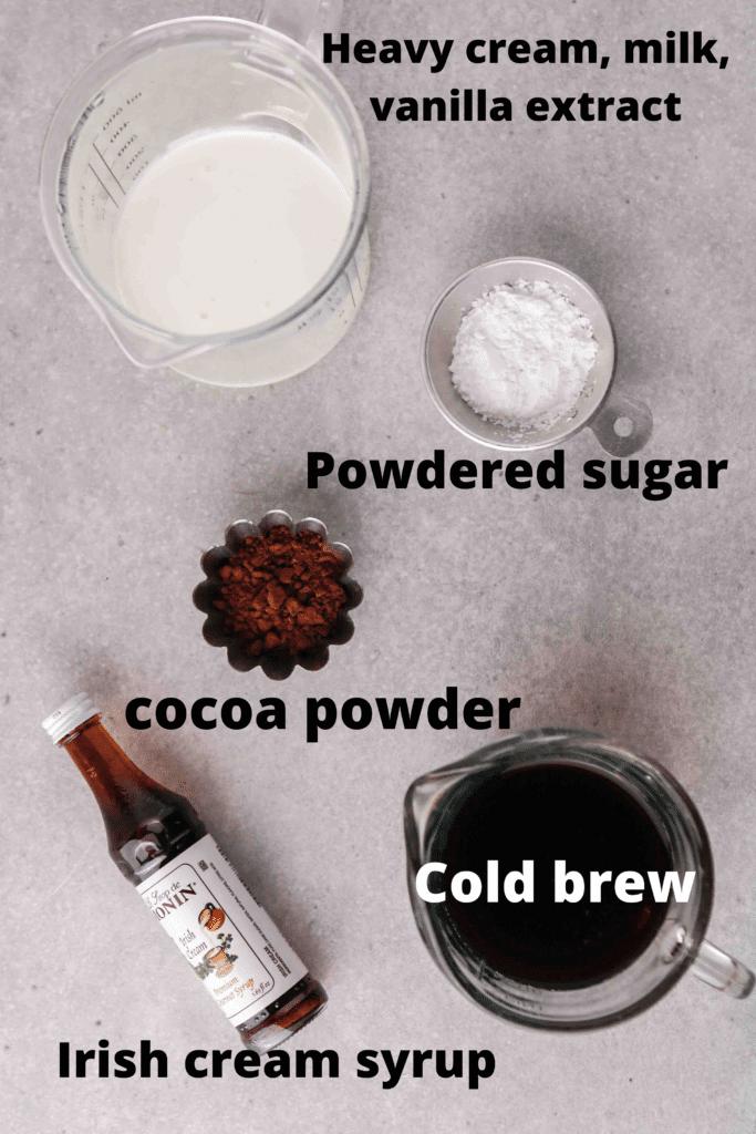 Ingredients for Irish cream cold brew