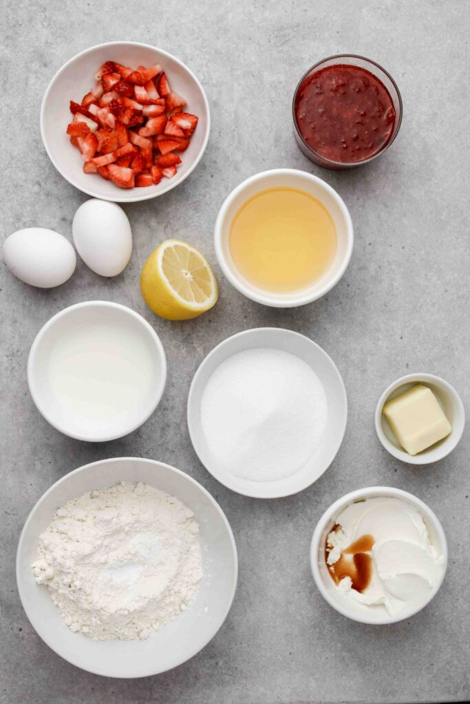 Ingredients for strawberry jam filled muffins