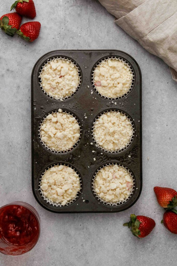 Top the muffins with streusel
