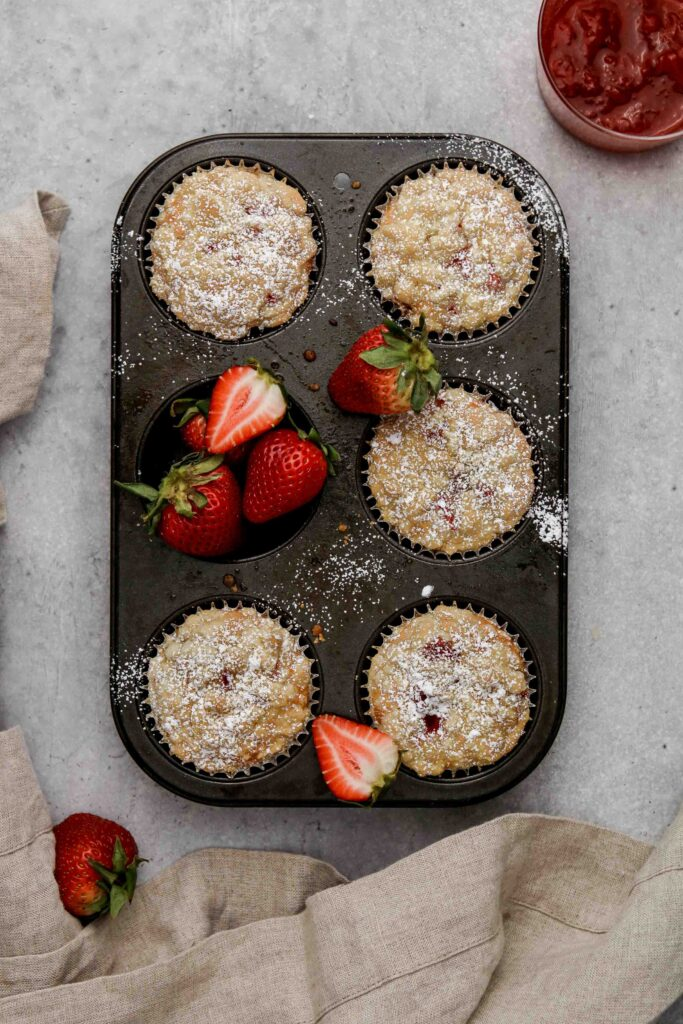 Baked strawberry jam filled muffins