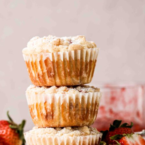 Stack of strawberry muffins