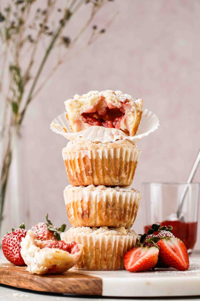 Stack of strawberry stuffed muffins