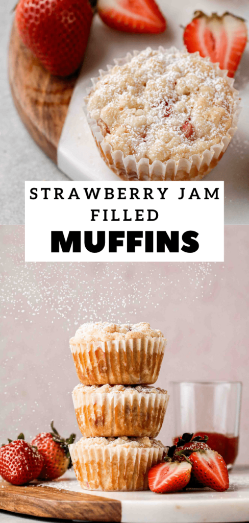 Strawberry jam filled muffins with streusel
