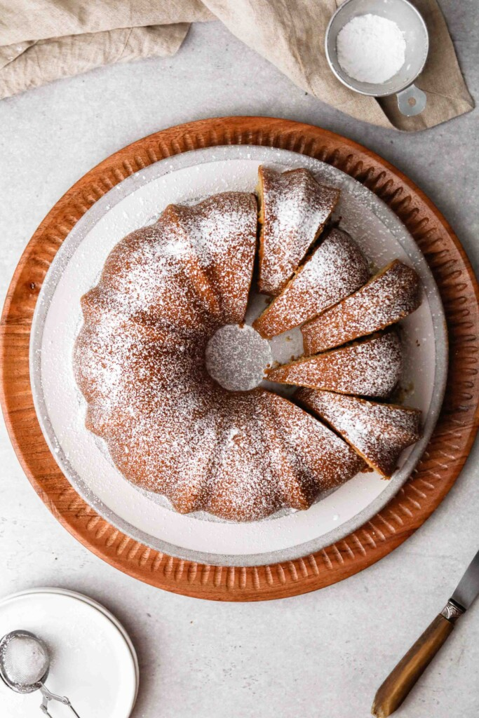 Overhead shot of vanilla bundt cake