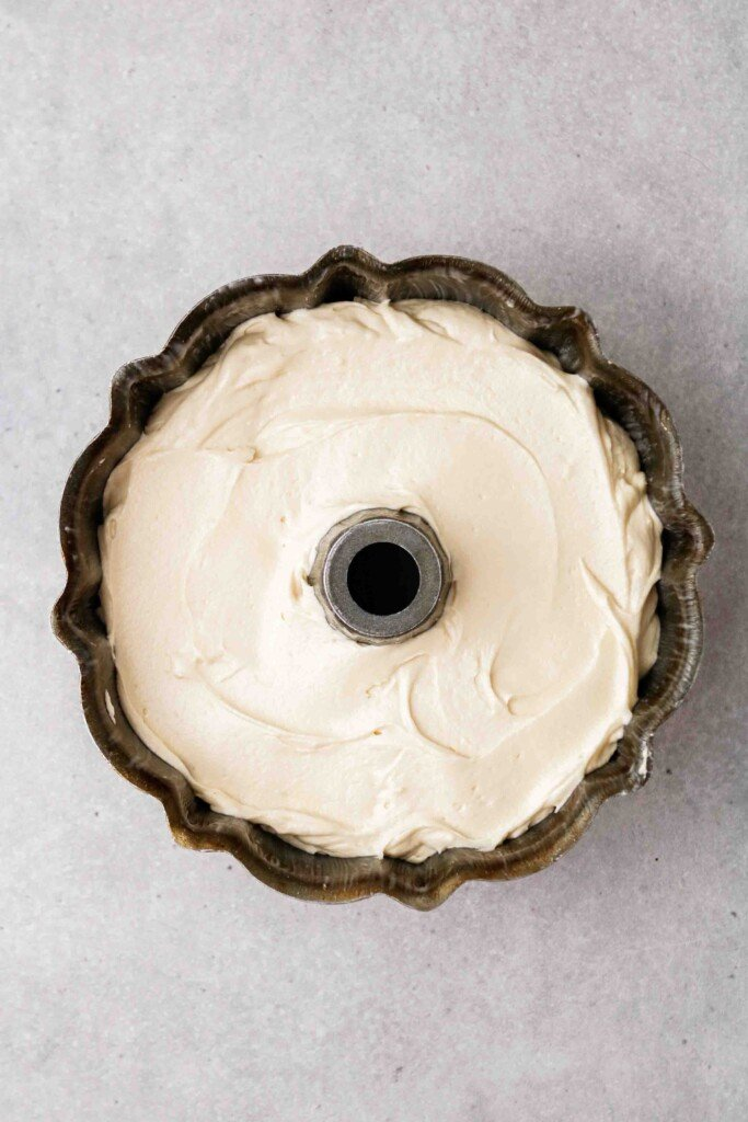 Cake batter in bundt pan