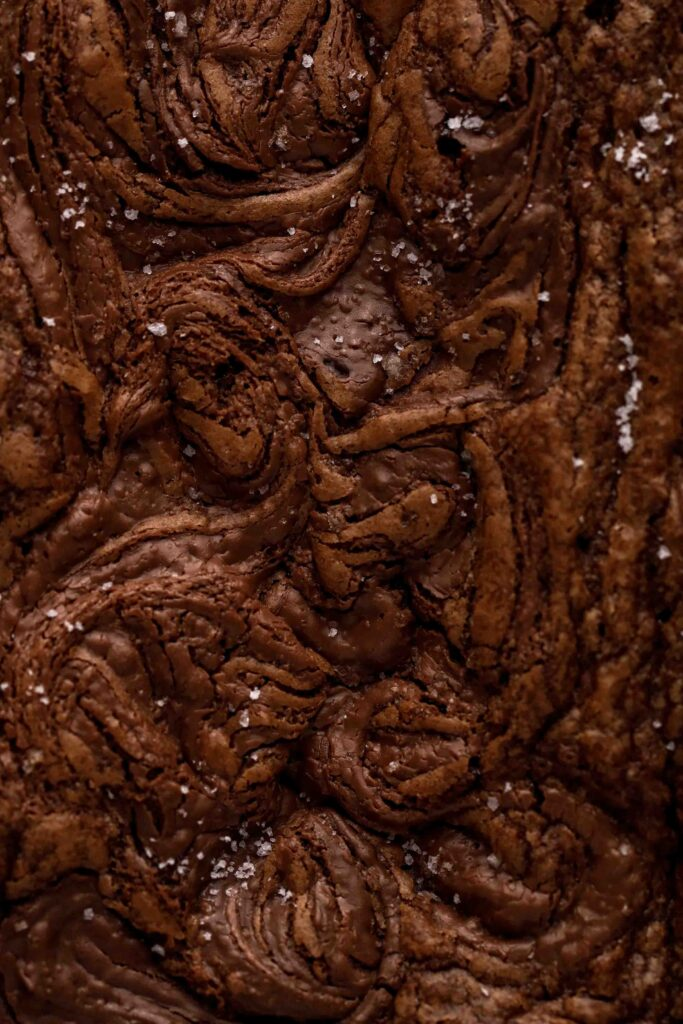 Close up Nutella crinkly top brownies