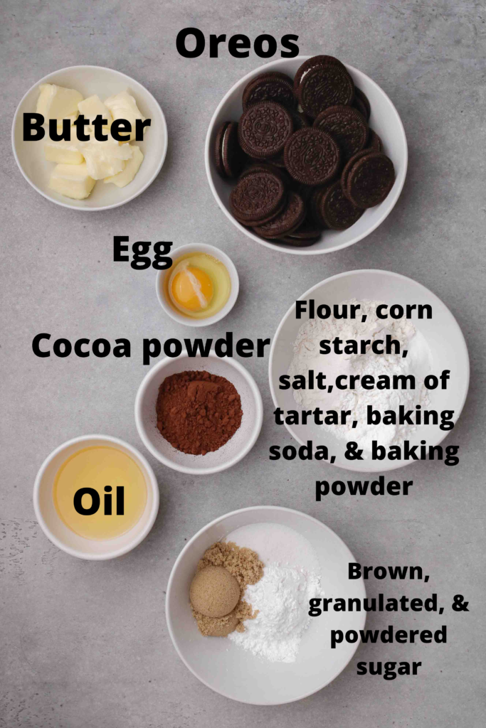 Ingredients for CRUMBL Oreo cookies