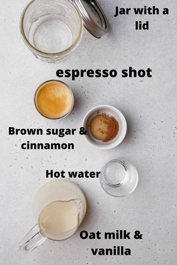 Ingredients for brown sugar shaken espresso