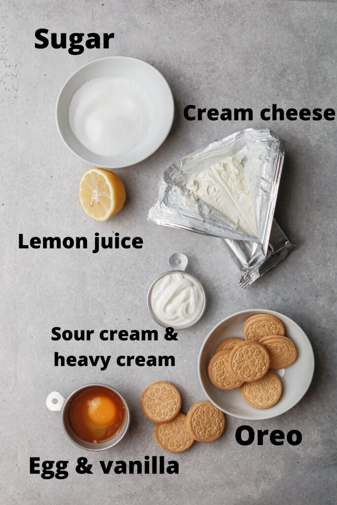 Ingredients for small batch cheesecakes