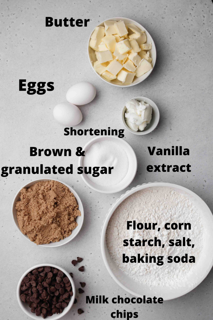 Ingredients for CRUMBL chocolate chip cookies