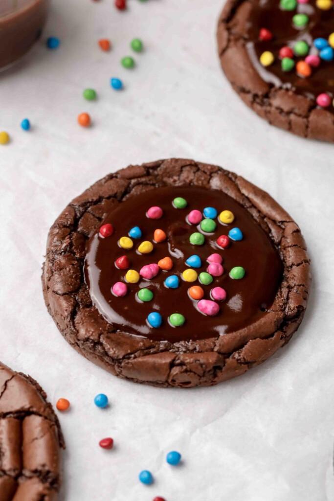 Cosmic brownie cookie with sprinkles on top