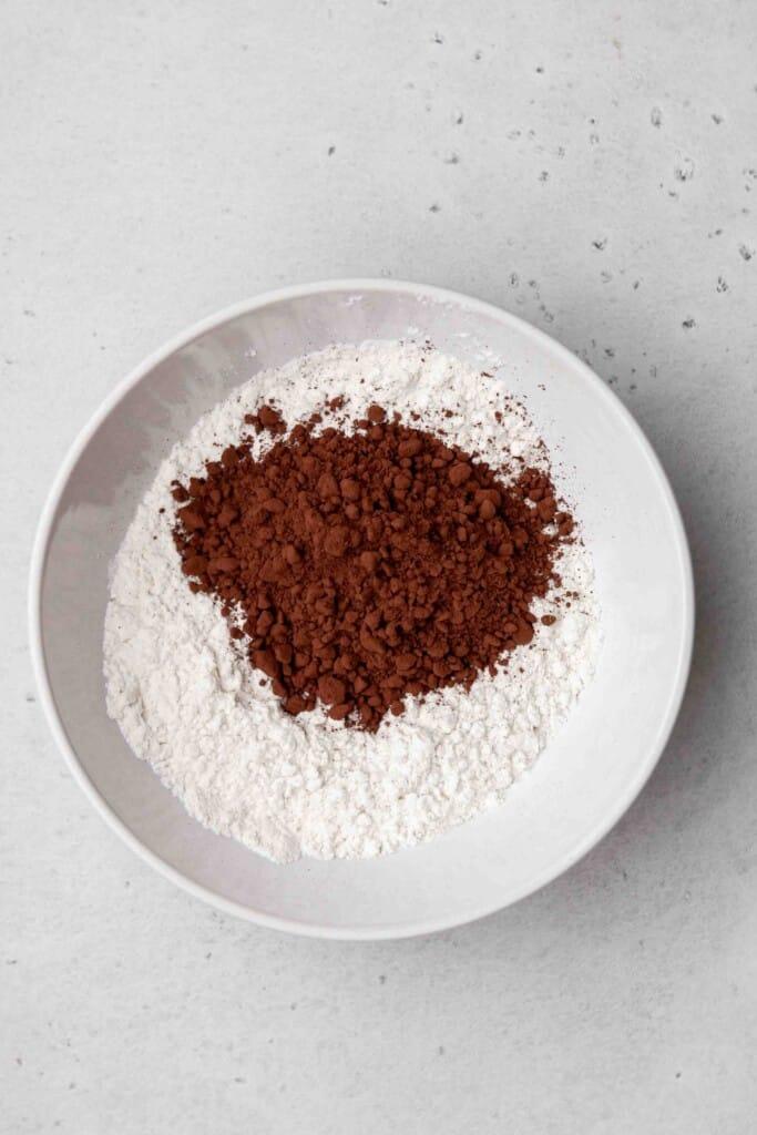 Dry ingredients for cosmic brownie cookies in a bowl