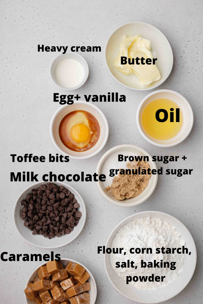 Ingredients for chilled Twix cookies