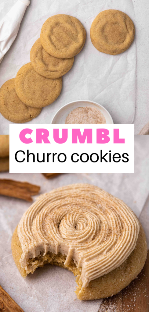 Churro cookies with a bite taken out of it