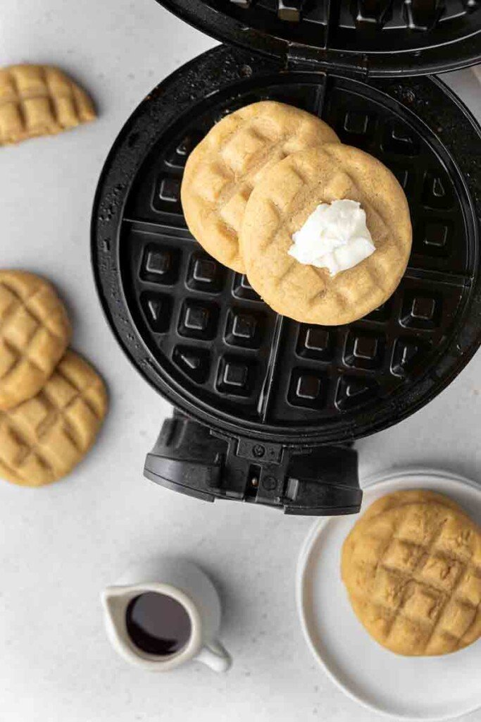 Waffle cookies on a waffle iron