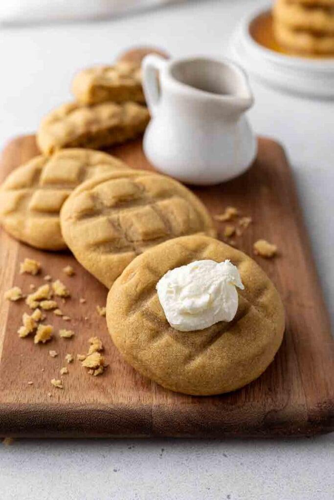 CRUMBL cookies on a cutting board