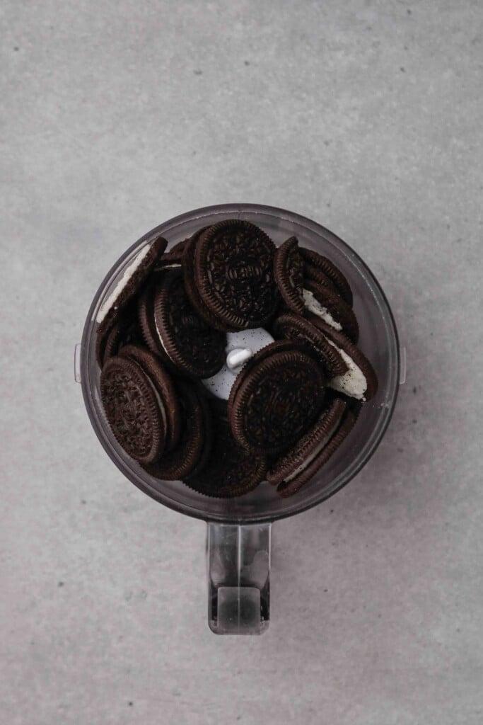 Oreo cookies in the food processor