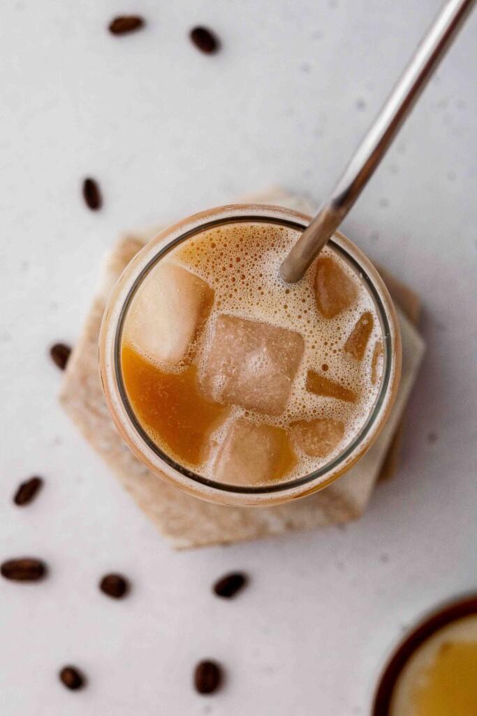 Overhead shot of Starbucks oat milk shaken espresso latte