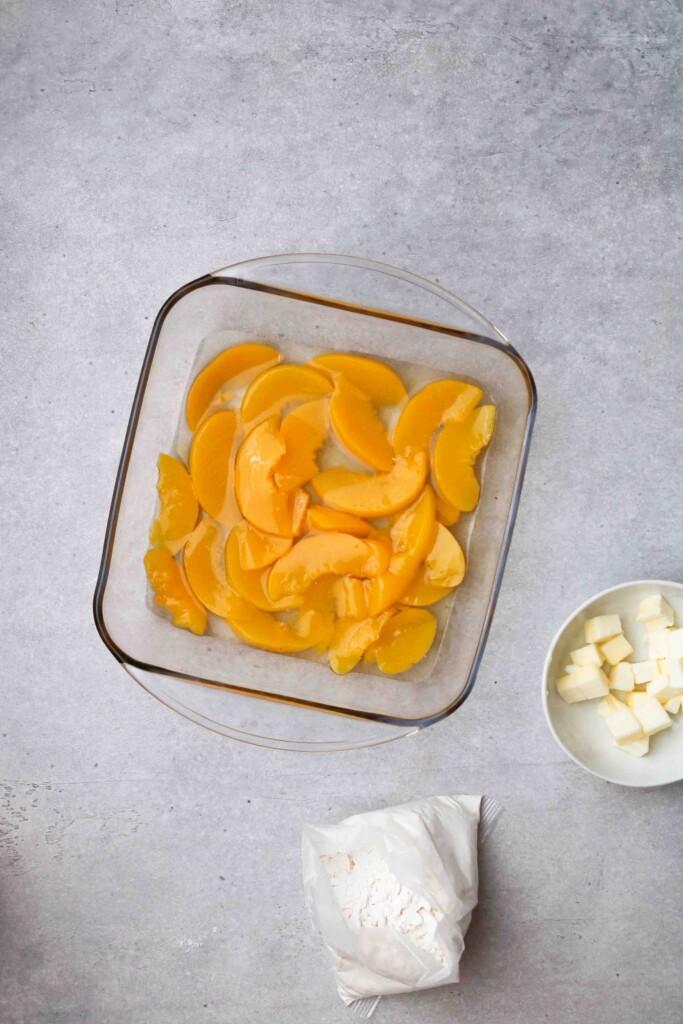 Peaches in an 8x8 inch pan