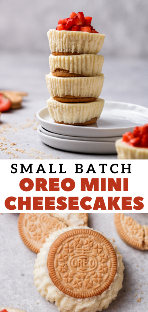 Small batch mini cheesecakes with oreo crust