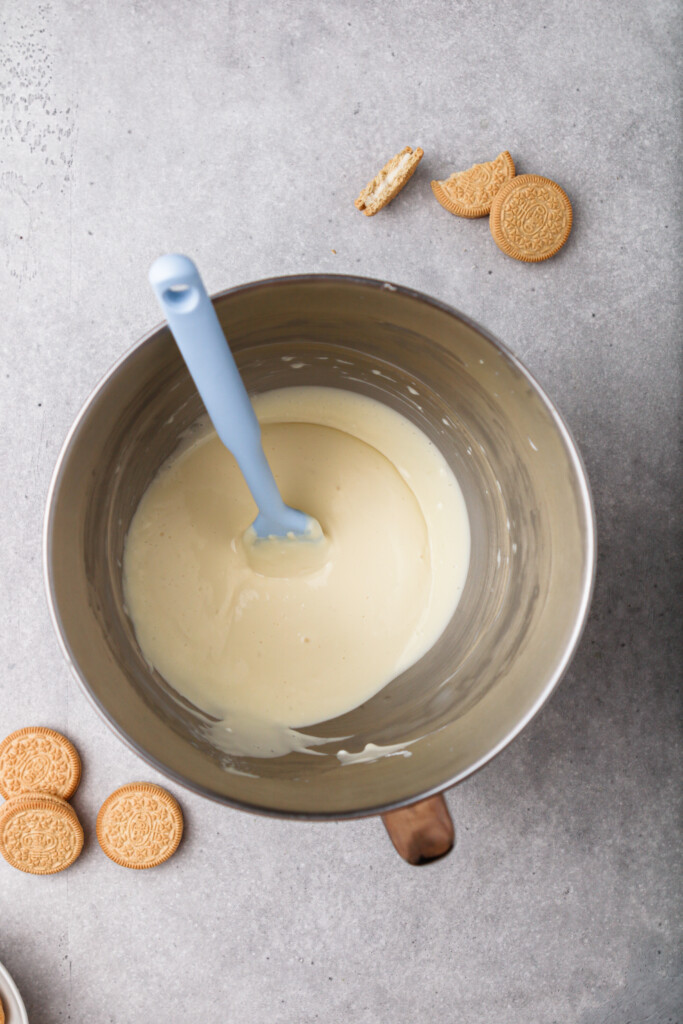 Add the egg and vanilla to cheesecake batter