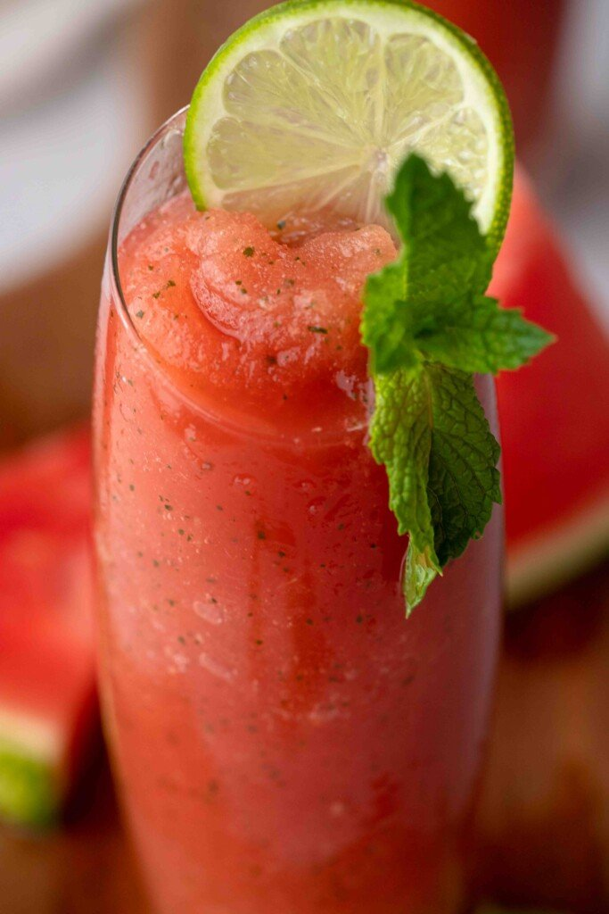 Close up of mint watermelon summer drink
