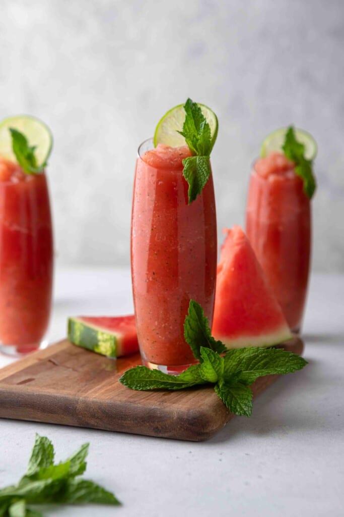 boozy watermelon margarita slushies