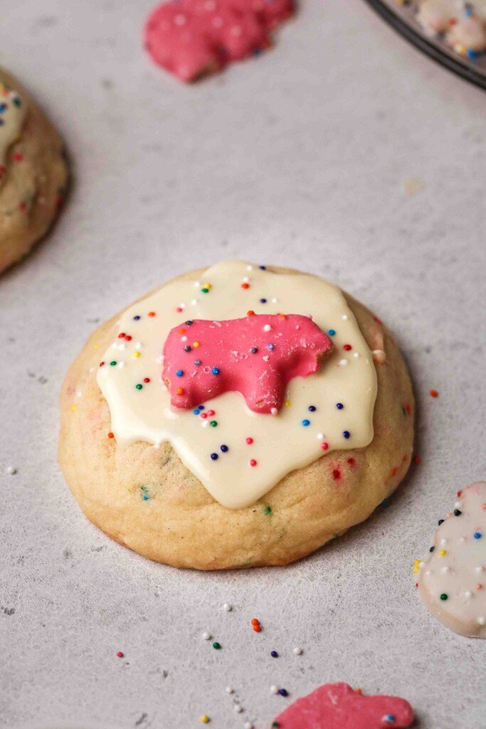 CRUMBL circus animal cookies with white chocolate on top