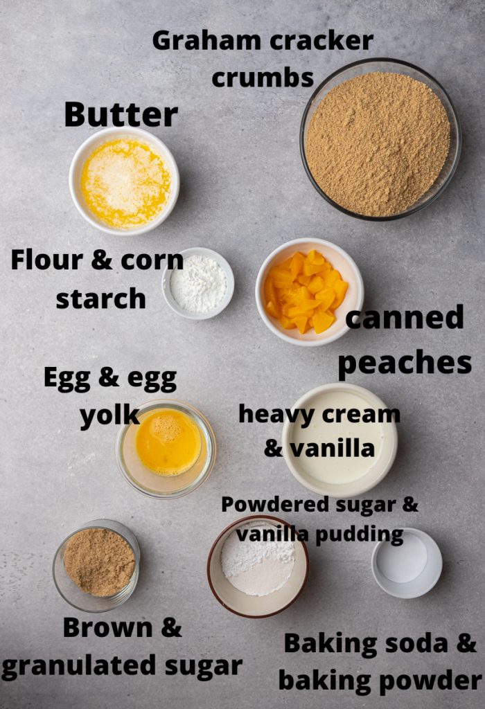 Ingredients for CRUMBL peaches and cream cookies