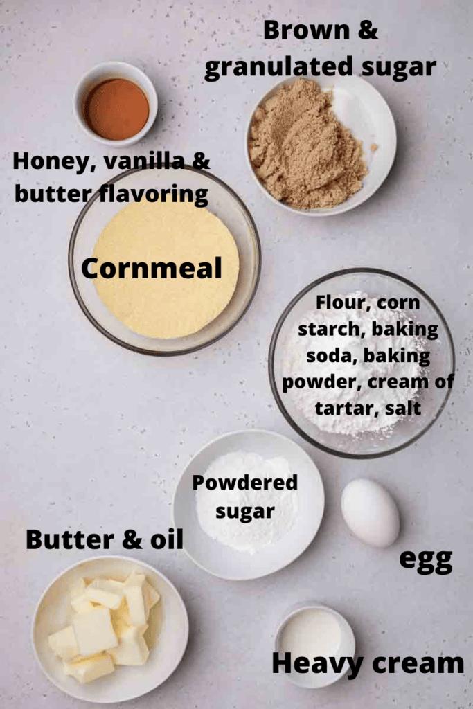 Ingredients for cornbread cookies