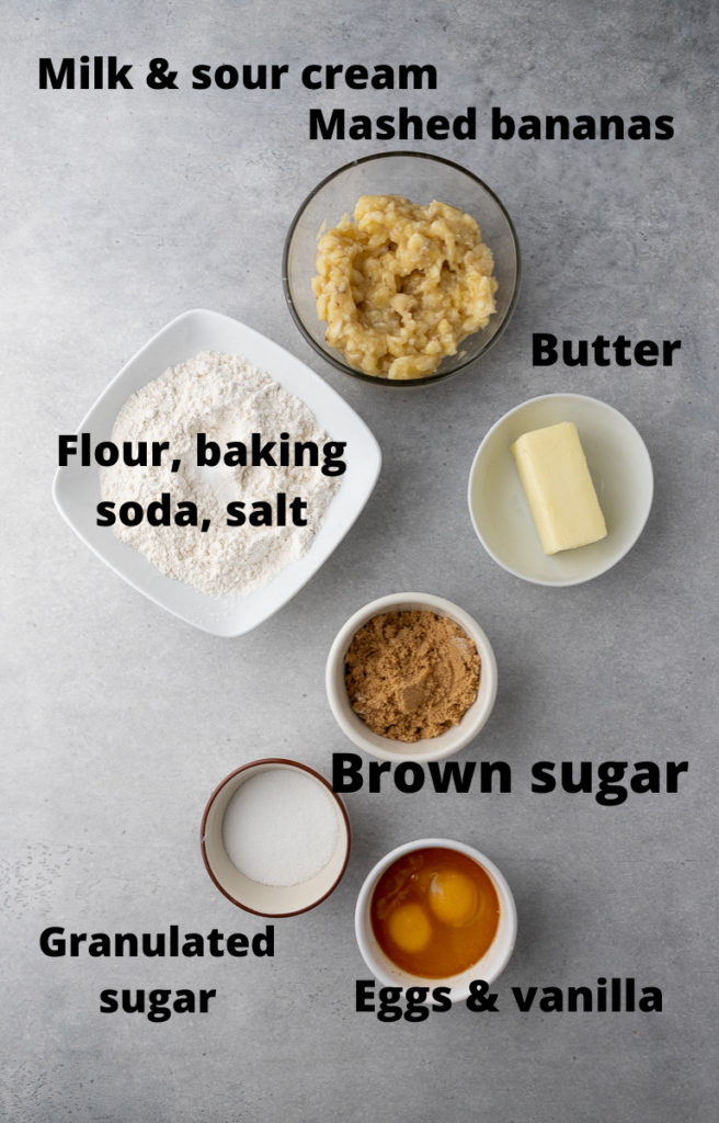 Ingredients for brown butter banana bread