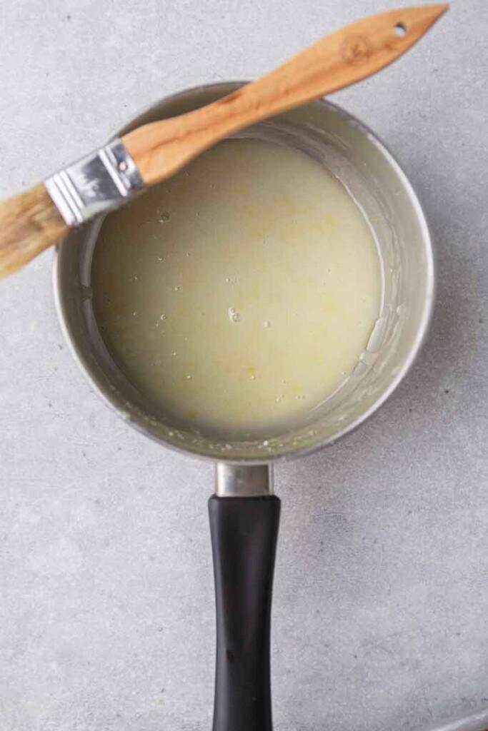 Lemon butter sauce in a saucepan