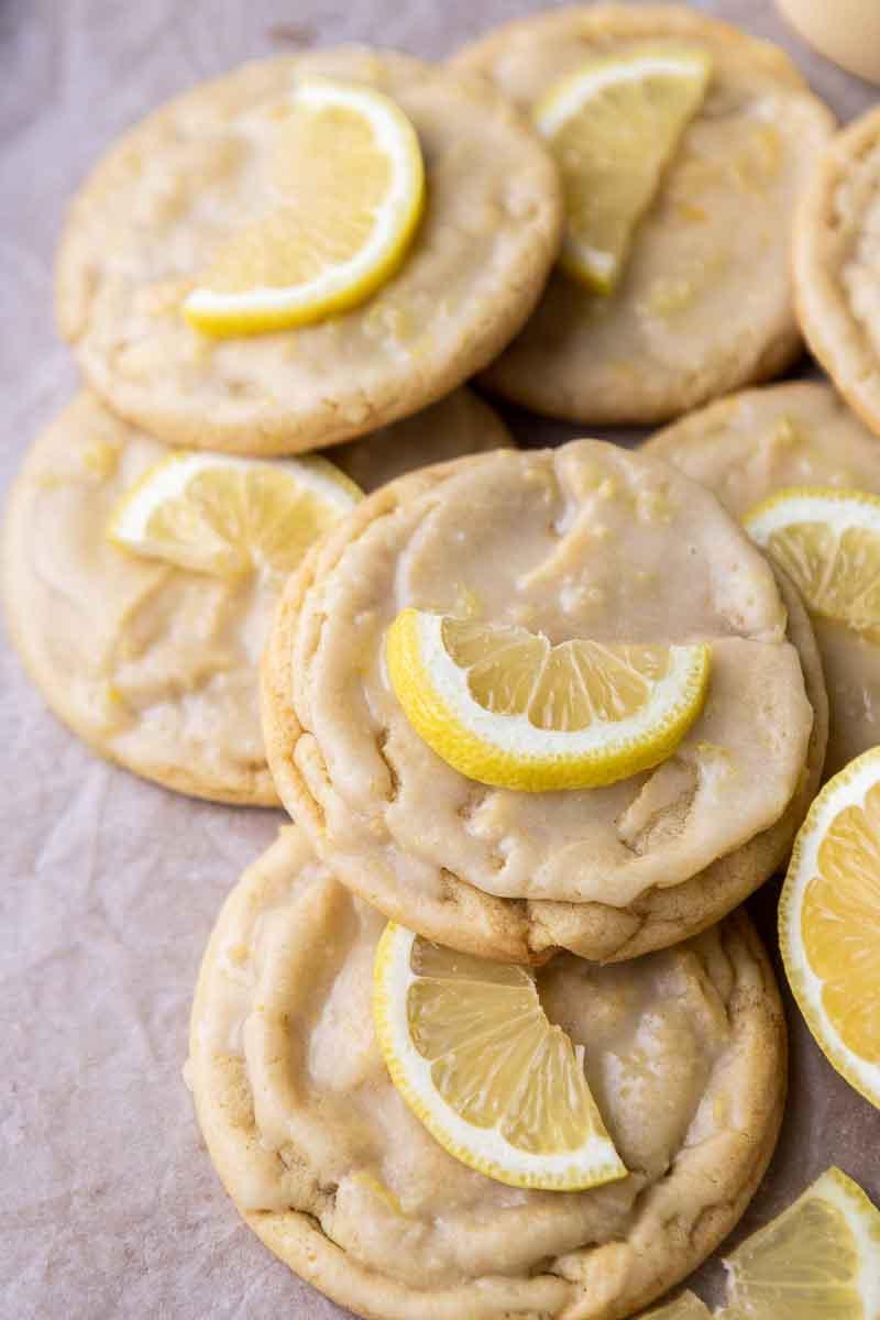Lemon cookie son a baking sheet