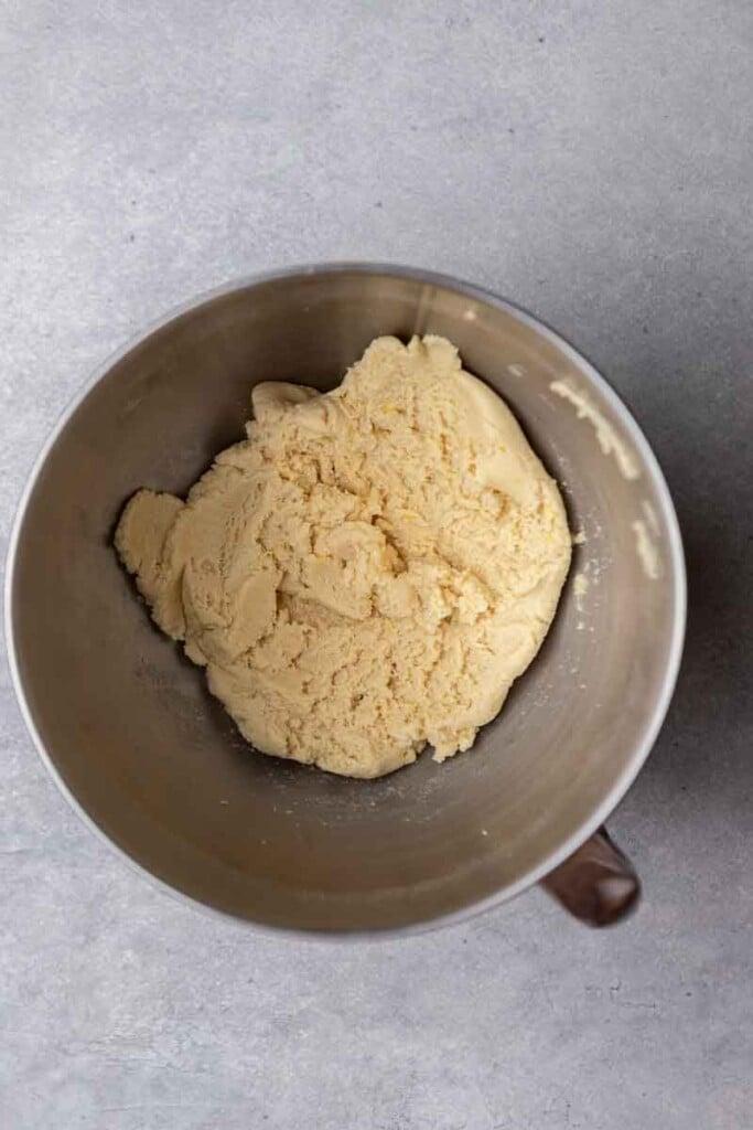 Cookie dough in mixer bowl