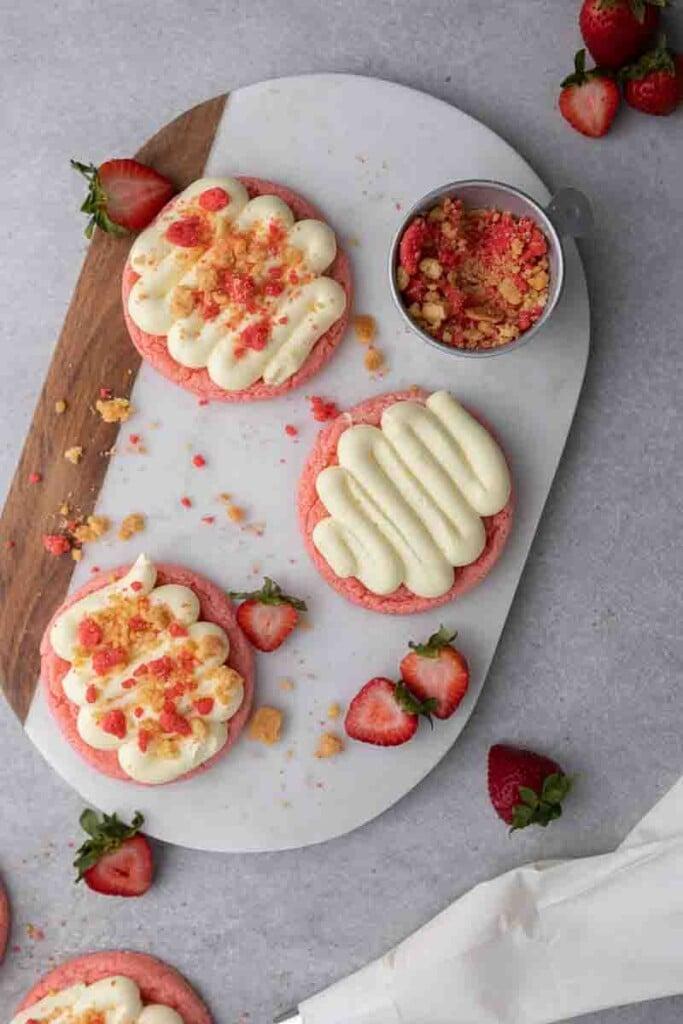 Overhead shot of crumbl strawberry shortcake cookies