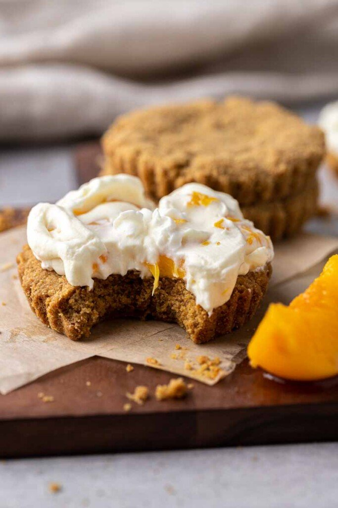 peaches and cream cookies with a bite taken out of it