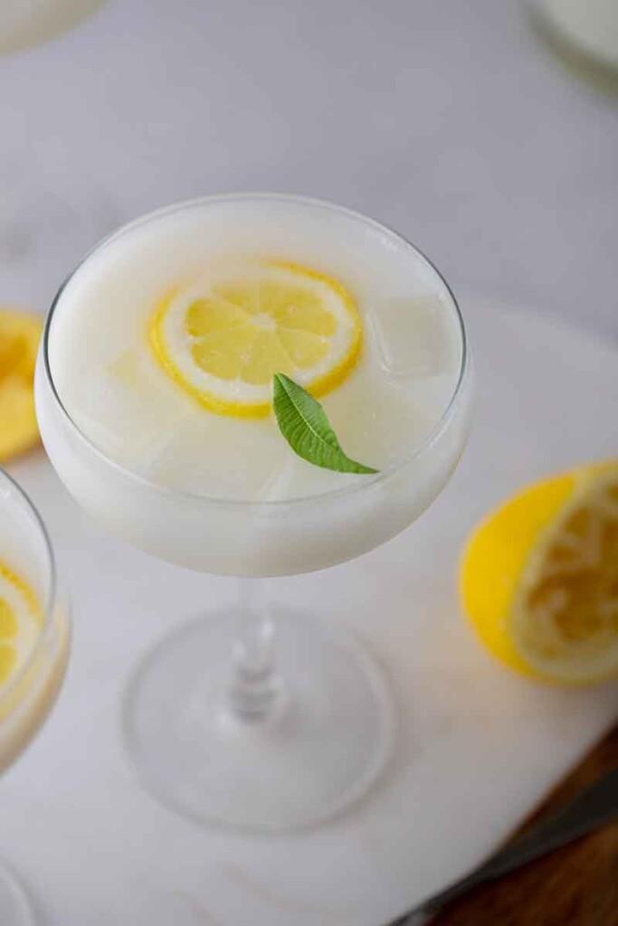 Easy creamy lemonade in a champaign glass