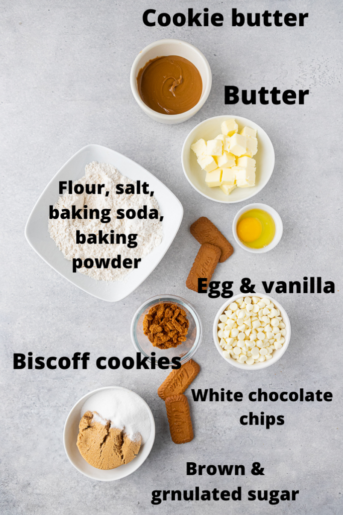 Crumbl biscoff white chip cookie ingredients
