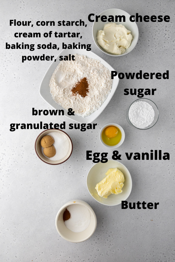 Ingredients for CRUMBL snickerdoodle cupcakes cookies