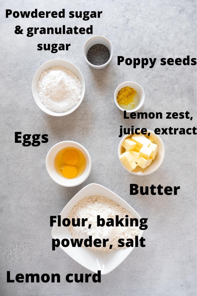 Ingredients for Crumbl lemon poppy seed cookies