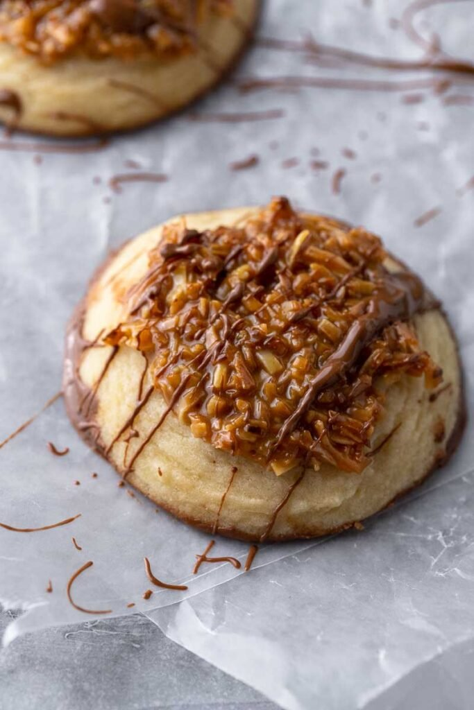 chocolate dipped sugar cookie with coconut