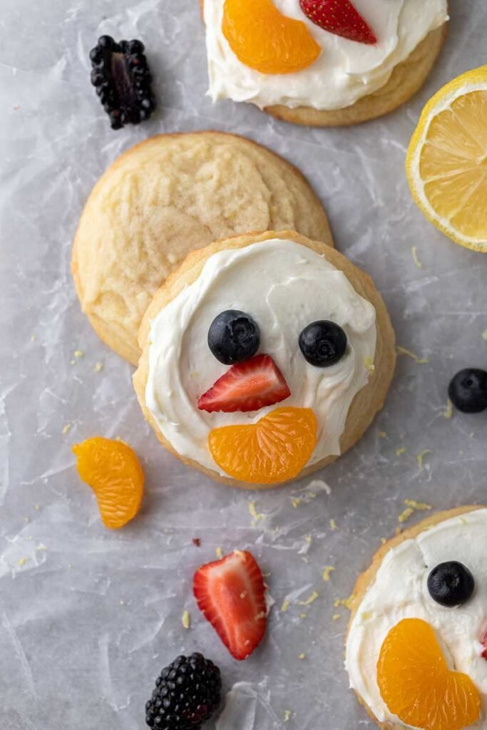 Frosted and unfrosted lemon fruit pizza cookies