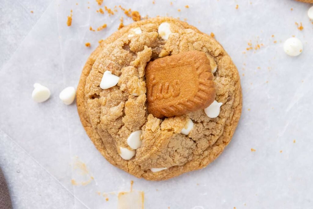 Single cookie with Biscoff cookie on top