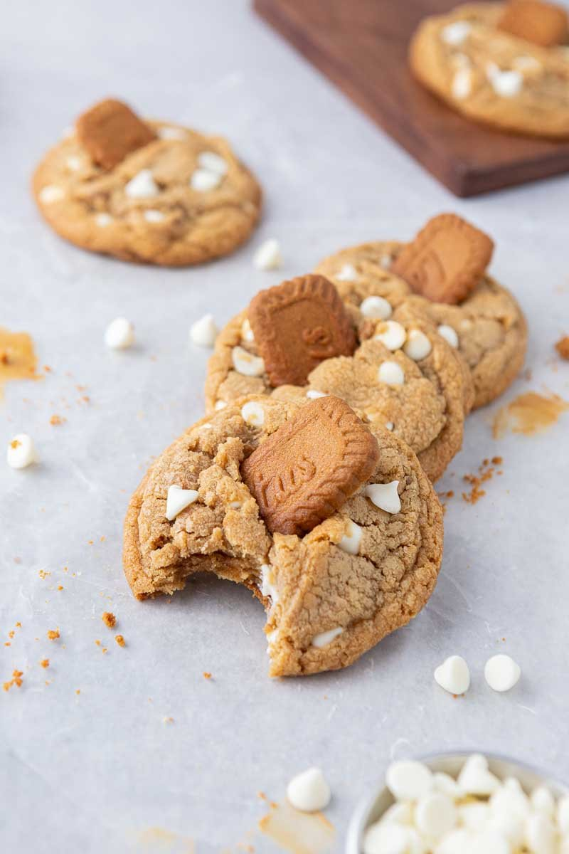 Cookie butter cookies and white chocolate chips